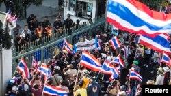 泰国反对派举行反政府示威活动。