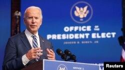 Tổng thống tân cử Joe Biden tại cuộc họp báo ở Wilmington, Delaware, ngày 10/11/2020.