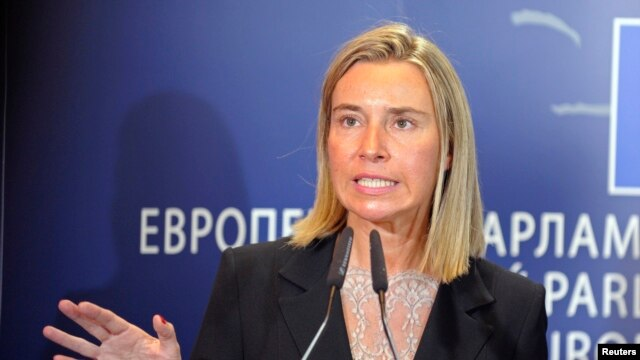 Newly elected EU Foreign Policy Chief, Italian Foreign Minister Federica Mogherini, holds a news conference at the European Parliament in Brussels Sept. 2, 2014.