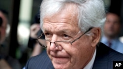 FILE - Former House Speaker Dennis Hastert departs the federal courthouse in Chicago, June 9, 2015.