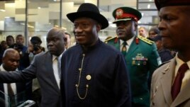 Nigeria's President Goodluck Jonathan, seen here on Dec. 10, 2013, has signed a measure that prohibits same-sex marriage.