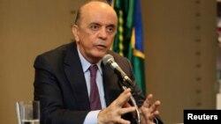 El ministro de Relaciones Exteriores de Brasil, José Serra, habló durante una conferencia de prensa en Montevideo, Uruguay, el martes, 5 de julio de 2016.