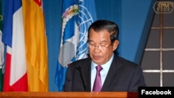 Cambodian Prime Minister Hun Sen talks at the 75th session of the United Nations Economic and Social Commission for Asia and the Pacific (UN-ESCAP) in Bangkok, Monday, May 27, 2019. (Facebook/Samdech Hun Sen, Cambodian Prime Minister official page)