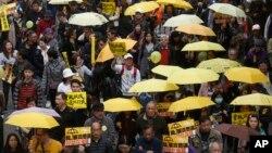 지난 1일 홍콩에서 지난해 센트럴 점거시위 이후 가장 큰 규모의 민주화 요구 시위가 열렸다. (자료사진)