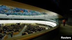 FILE - A session of the Human Rights Council at the United Nations in Geneva, Switzerland.