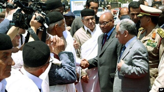 South African President Jacob Zuma (C-R) is greeted by Libyan PM Baghdadi al-Mahmudi (front-R) and local tribesmen upon his arrival in Tripoli on May 30, 2011