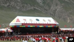 Tibetan dancers at the Lithang Horse Festival, August 1,2007. on the day Runggye Adak made his protest.