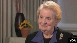 FILE - Former Secretary of State Albright Addresses Obama's Foreign Policy