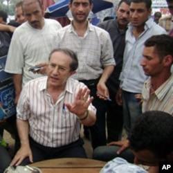 Osama al-Ghazali Harb speaks to protesters on Tahrir Square, July 15, 2011