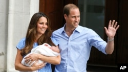 Britain's Prince William and his wife Kate hold the Prince of Cambridge, July 23, 2013, outside the exclusive Lindo Wing at St. Mary's Hospital in London where the Duchess gave birth.