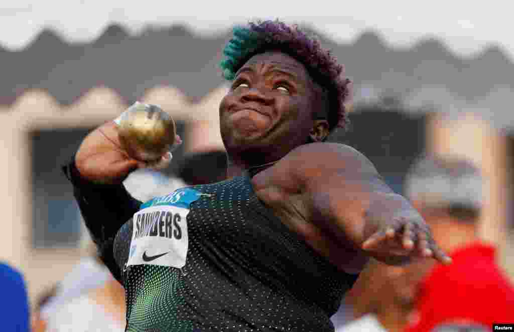 Raven Saunders of the U.S. competes during the women's shot put event at the Morocco Diamond League athletics competition in Hercule Port, Monaco.