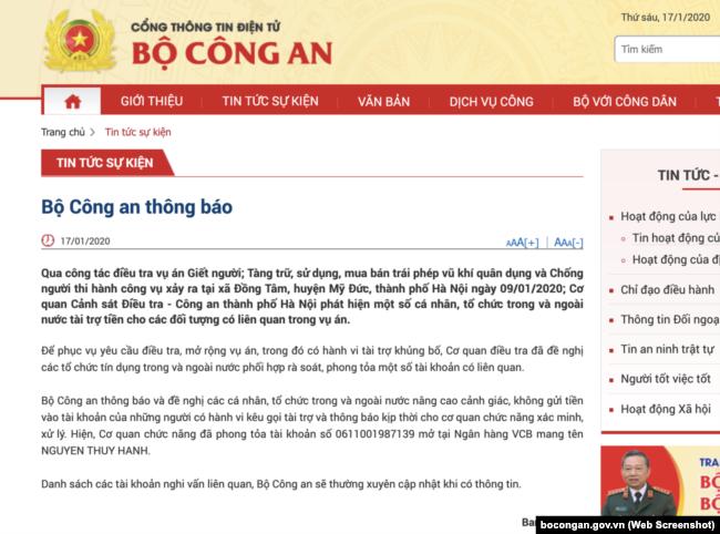"""Thông báo của Bộ Công an về việc phong tỏa tài khoan """"Nguyen Thuy Hanh""""."""
