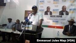 Le candidat Akere Muna en conférence de presse sur la déclaration de ses biens à Yaoundé, le 1er octobre 2018. (VOA/Emmanuel Jules Ntap)