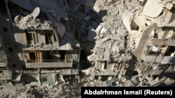 Syria Aleppo rubble