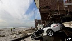 5일 허리케인 샌디로 피해를 입은 뉴욕주 퀸즈 지역의 가택.