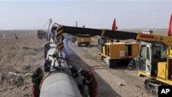건설중인 천연가스 수송관 (자료사진)