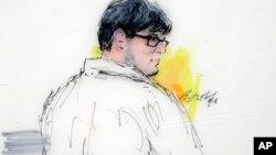Ilustración del acusado, Enrique Márquez, durante una audiencia en el tribunal federal en Riverside, California, el 21 de diciembre de 2015.