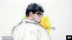 In this courtroom sketch, Enrique Marquez appears in federal court in Riverside, Calif., Monday, Dec. 21, 2015. Marquez is due to appear in federal court in Riverside after signing a plea agreement with prosecutors.