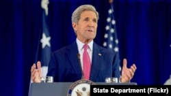 U.S. Secretary of State John Kerry delivers a speech about the Iran nuclear agreement before an audience of several hundred assembled on Sept. 2, 2015, at the National Constitution Center in Philadelphia, Pennsylvania.