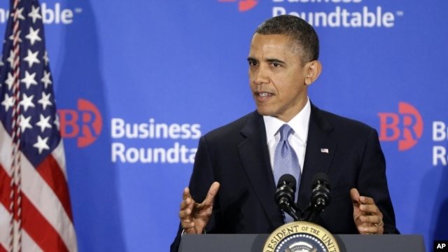 President Barack Obama gestures as he speaks about the fiscal cliff at the Business Roundtable, an association of chief executive officers, in Washington, Wednesday, Dec. 5, 2012.