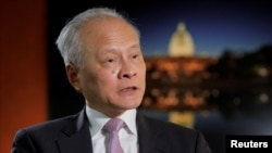 中國駐美大使崔天凱接受路透社記者採訪。(2018年11月6日)