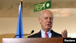 FILE - U.N. mediator for Syria Staffan de Mistura.