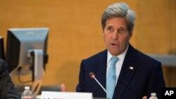 Ngoại trưởng Mỹ John Kerry phát biểu tại trụ sở Ngân Hàng Thế Giới ở Washington, ngày 14/4/2016.