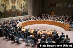 FILE - U.N. Security Council meeting.