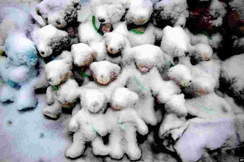 Snow-covered stuffed animals with photos attached were placed at a makeshift memorial for victims of the Sandy Hook massacre in Newtown, Conn, Dec. 14, 2012.