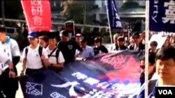 多个亲中团体举行撑警游行(苹果日报视频截图)