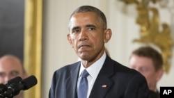 Presiden Barack Obama saat menyampaikan pidato di East Room, Gedung Putih di Washington, 5 Januari 2016, tentang langkah-langkah mengurangi kekerasan senjata.