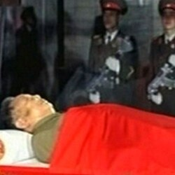 The body of North Korean leader Kim Jong Il in a memorial palace in Pyongyang
