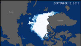 These maps compare the Arctic ice minimum extents from 2012 (top) and 1984 (bottom). In 1984 the minimum Arctic sea ice extent was 6.70 million square kilometers. The minimum ice extent in 2012 was nearly half of that at 3.41 million square kilometers.
