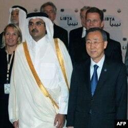 Qatar Bosh vaziri Shayx Tamim bin Hamad al-Taniy BMT Bosh kotibi Pan Gi Mun bilan