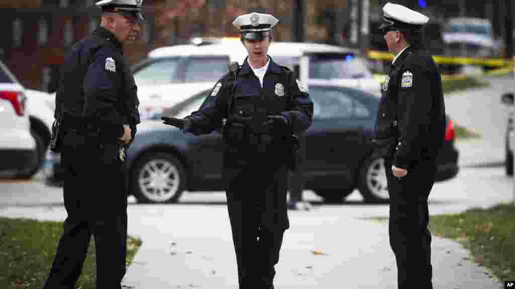 La police sur le campus de l'Ohio State University, le 28 novembre 2016