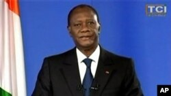 April 11, 2011: A still image from footage of Ivory Coast's presidential claimant Alassane Outtara addressing the nation, after Gbagbo was captured. Ouattara called for peace after his rival was arrested, and said his wife and aides who have been detained