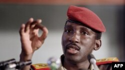 FILE - In this file photo taken on Sept. 2, 1986, Captain Thomas Sankara, President of Burkina Faso gives a press conference during a non-aligned summit in Harare.