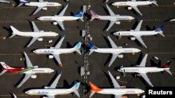 Berbagai pesawat Boeing 737 MAX yang dilarang terbang diparkir di lapangan Boeing di Seattle, Washington, AS (foto: dok).
