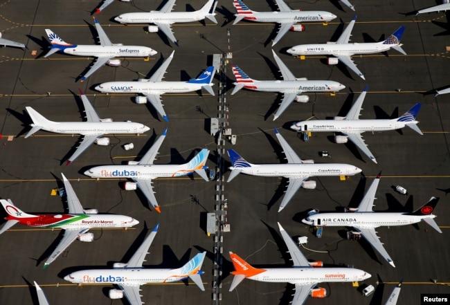 Pesawat Grounded Boeing 737 Max diparkir di Boeing Field di Seattle, Washington, 1 Juli 2019. (Foto: Reuters)