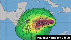 Proyección de trayectoria de viento de la tormenta tropical ETA, según el Centro Nacional de Huracanes de EE. UU.