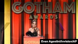 FILE - Actress-singer Jennifer Lopez presents the Best Actor Award at the Independent Filmmaker Project's 29th Annual IFP Gotham Awards at Cipriani Wall Street, in New York, Dec. 2, 2019.