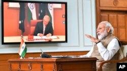 印度总理莫迪与澳大利亚总理莫里森进行视频会议。(2020年6月4日)