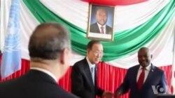 Umunyamabanga mukuru wa ONU Ban Ki-moon na Perezida w'Uburundi Petero Nkurunziza baganira n'Abanyamakuru I Bujumbura (tariki ya 23/02/2016)