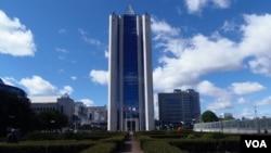 位于莫斯科的天然气工业公司总部大楼。(美国之音白桦拍摄)