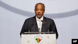 Tổng thống Djibouti Ismail Omar Guelleh phát biểu tại Hội nghị thượng đỉnh Ấn Độ châu Phi ở New Delhi hôm 29/10/2015.