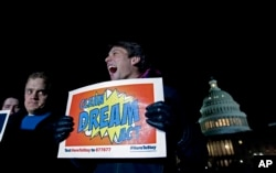 Demonstrators rally in support of the Deferred Action for Childhood Arrivals (DACA), and to avoid the government shutdown on Capitol Hill, Jan. 19, 2018, in Washington.