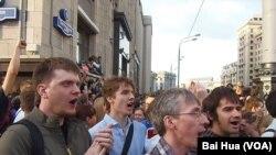 俄反对派领袖被判刑引发大示威
