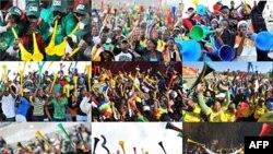 来自世界各国的球迷在世界杯赛事中吹哇哇祖拉