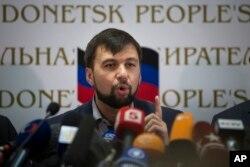 Ông Denis Pushilin trả lời họp báo ở Donetsk, Ukraine, 12/5/2014