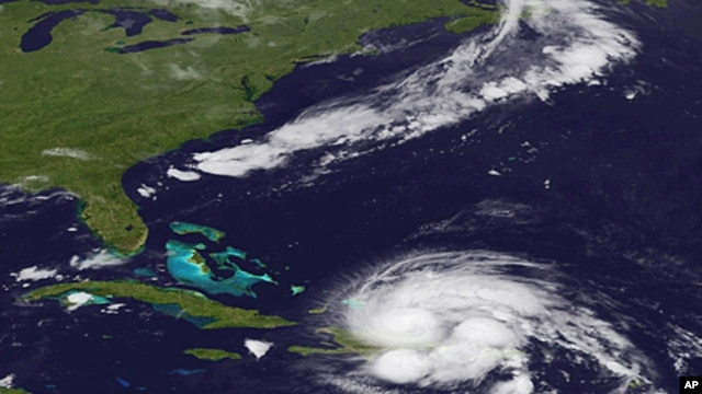 An image released by the NOAA made from the GEOS East satellite shows Hurricane Irene on as it passes over Puerto Rico and the Dominican Republic, August 23, 2011